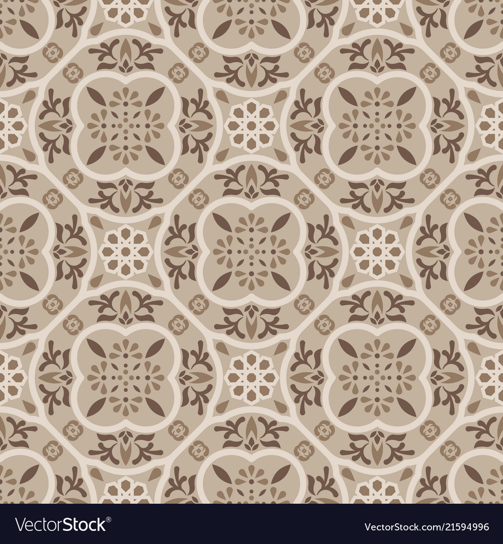 Floor tiles ornament brown pattern print