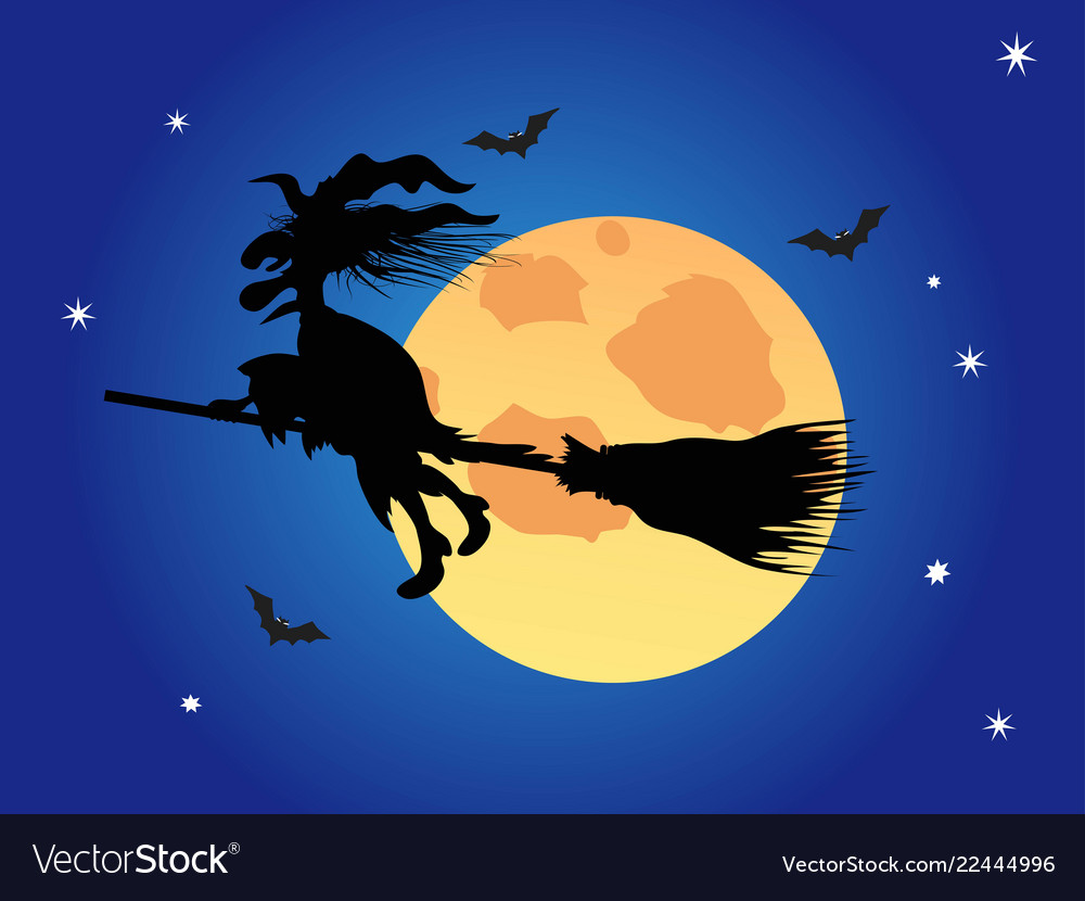 Halloween witch on the blue night sky