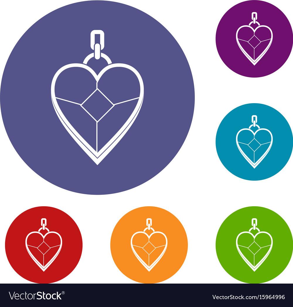Heart shaped pendant icons set vector image