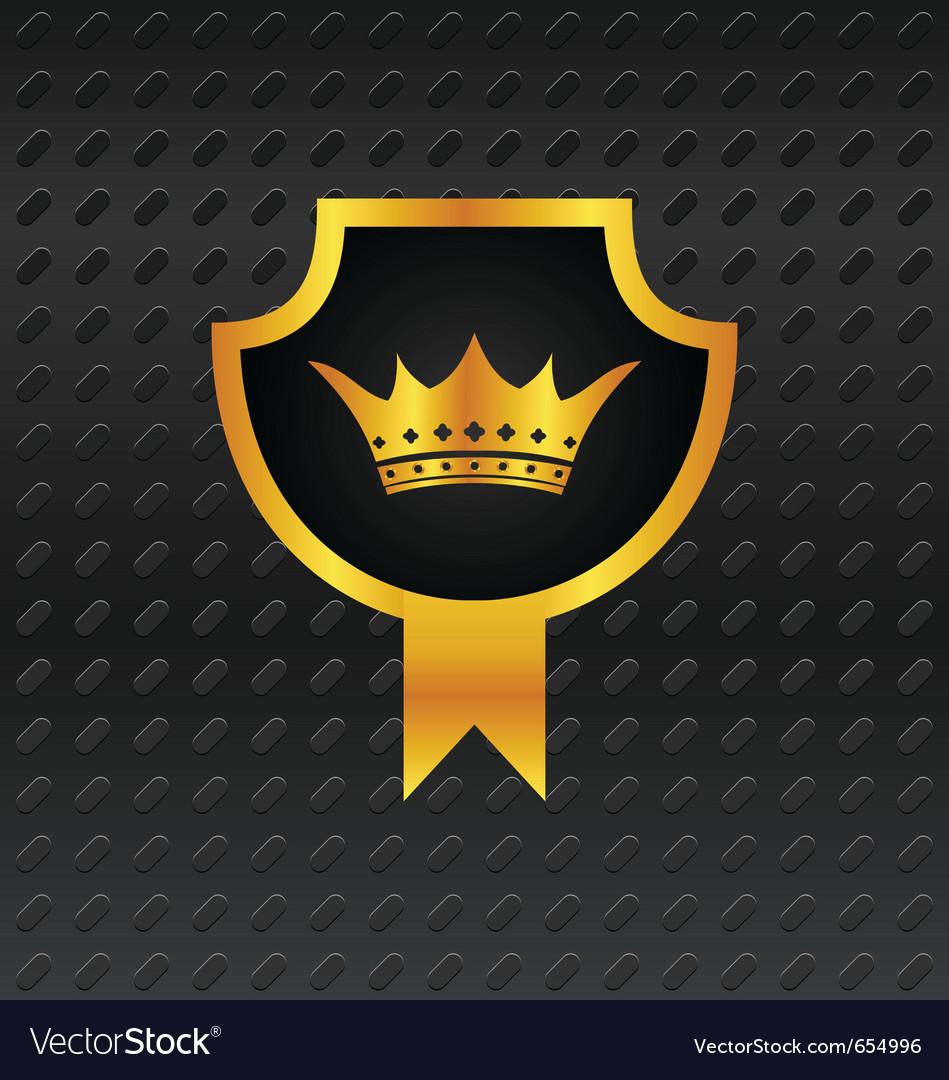 Heraldic shield on titanium background vector image
