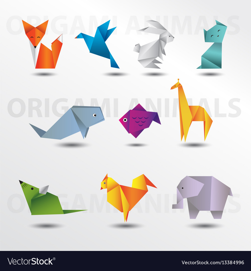 Origami Animals Royalty Free Vector Image Vectorstock