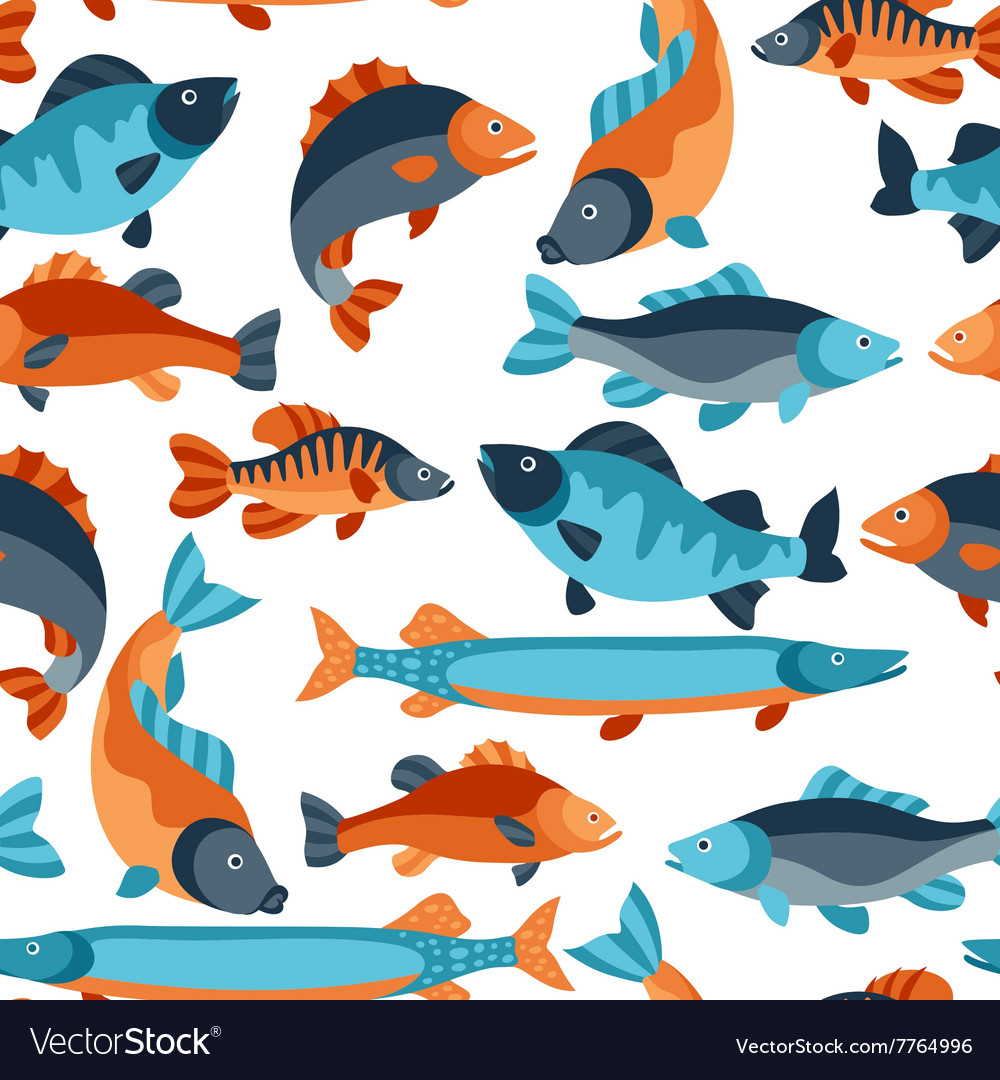 Seamless pattern with various fish Background