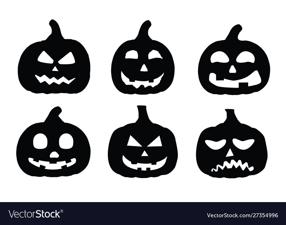Silhouette pumpkin on white background
