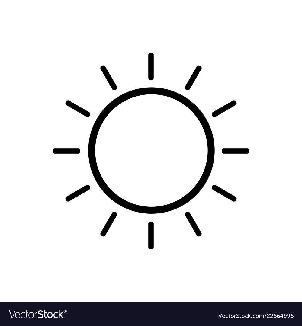 Sun line icon on white background