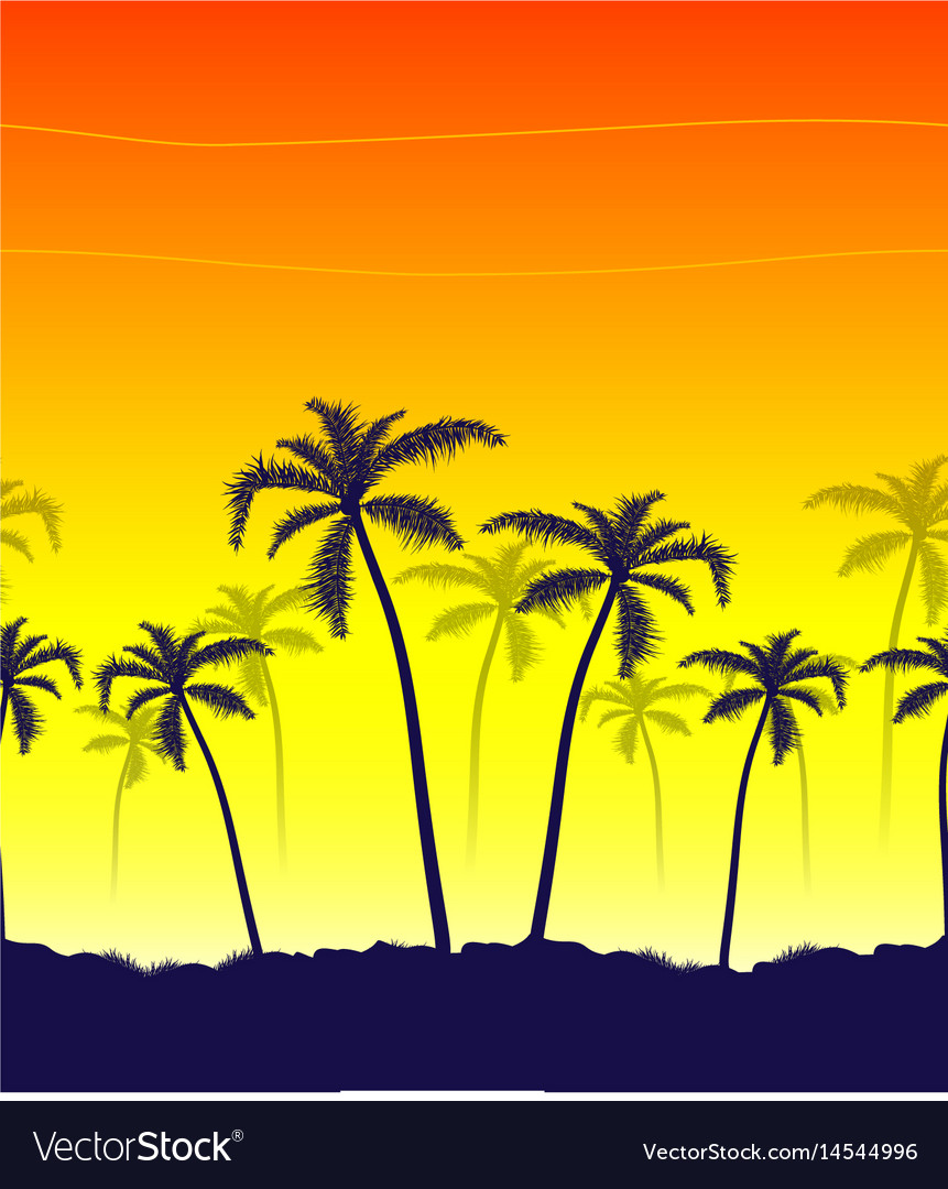 Tropical summer print with palm