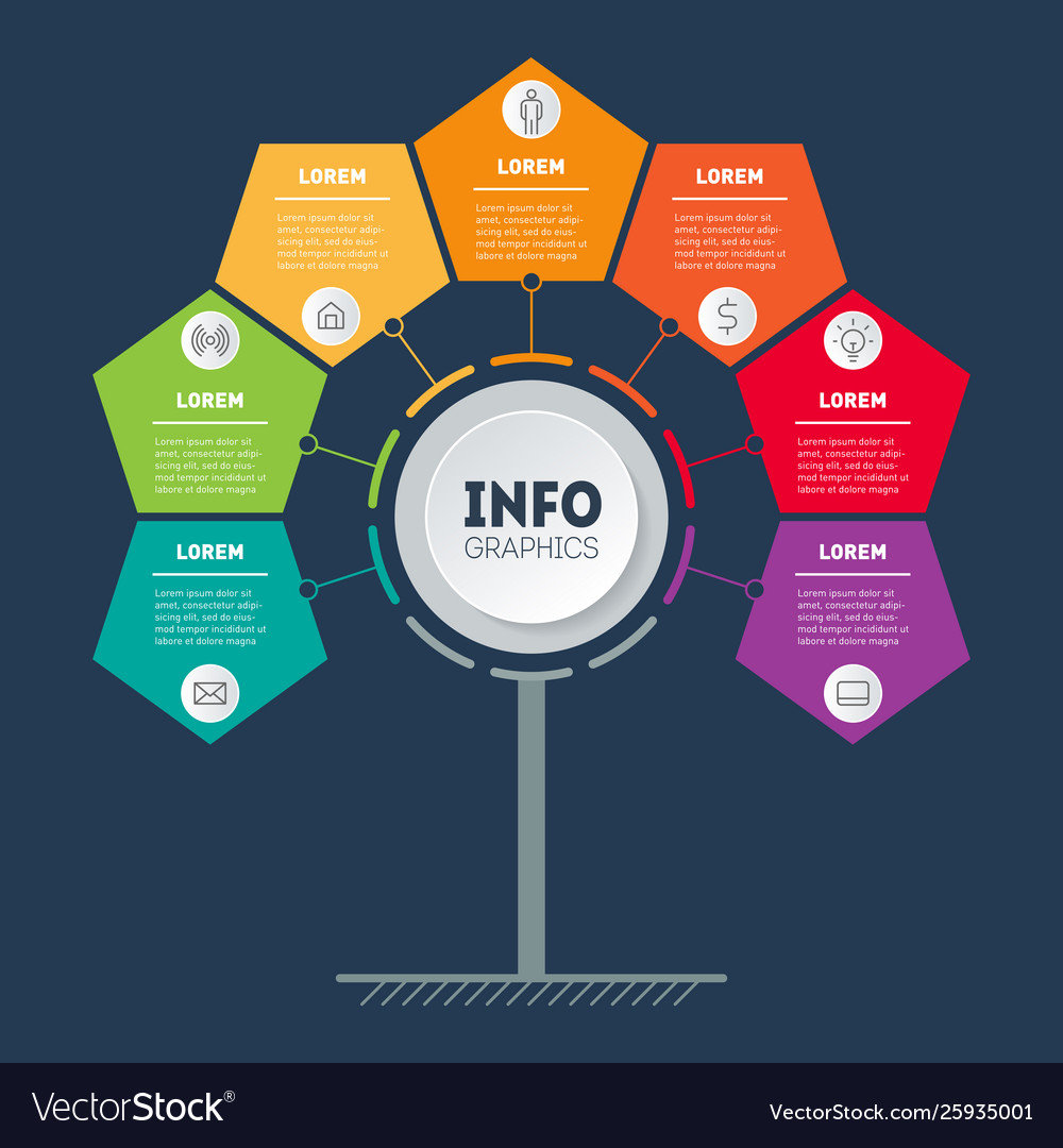 Business infographics concept with 7 options info