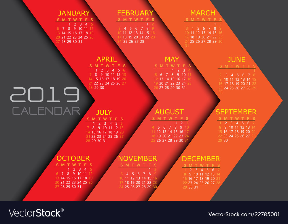 Calendar 2019 yellow white text number on red