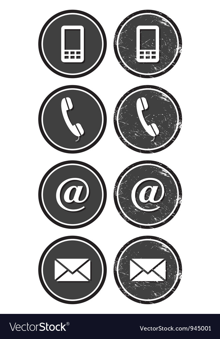 Contact web and internet retro icons set vector image