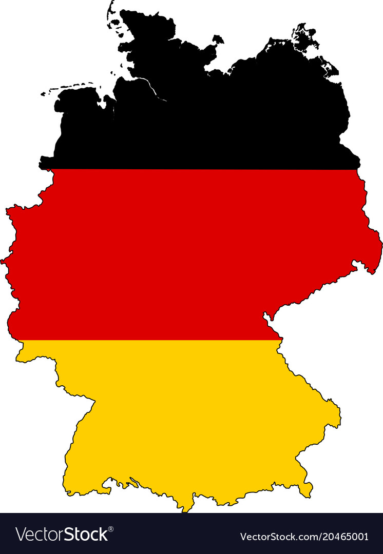 Germany map outline with flag