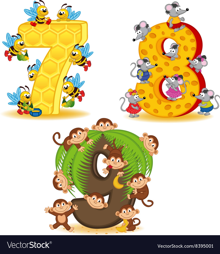 Set of numbers with number of animals from 7 to 9