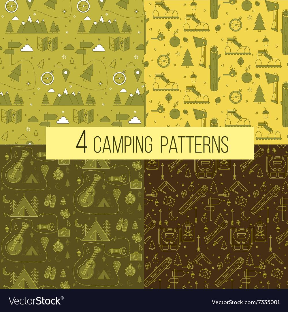 Set of Seamless Camping Patterns