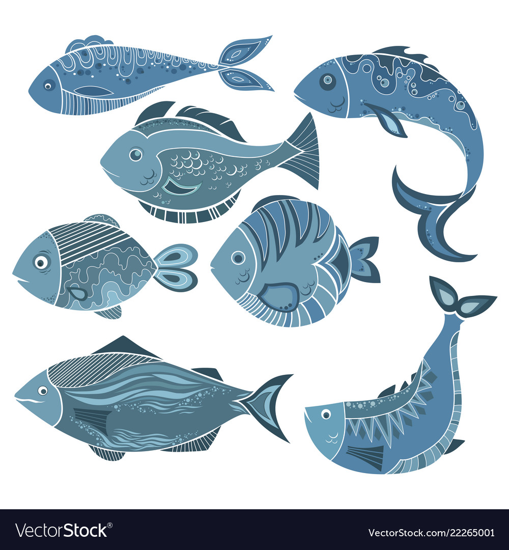 Set of stylized fish a collection of