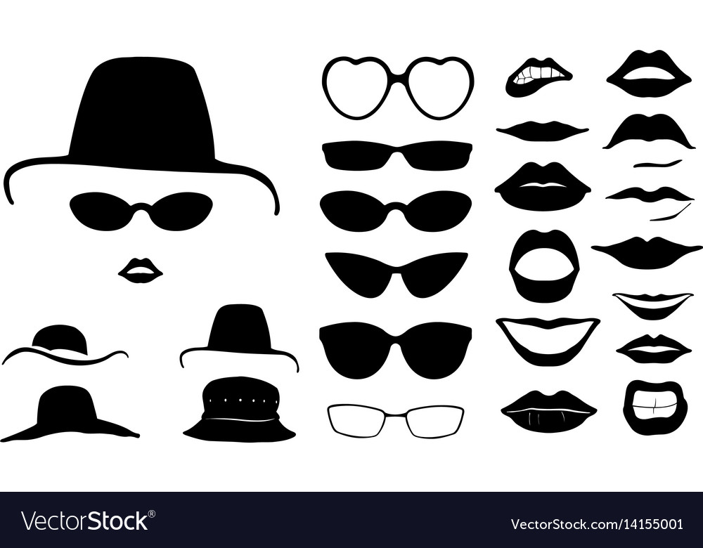 Set of women faces with hats vector image