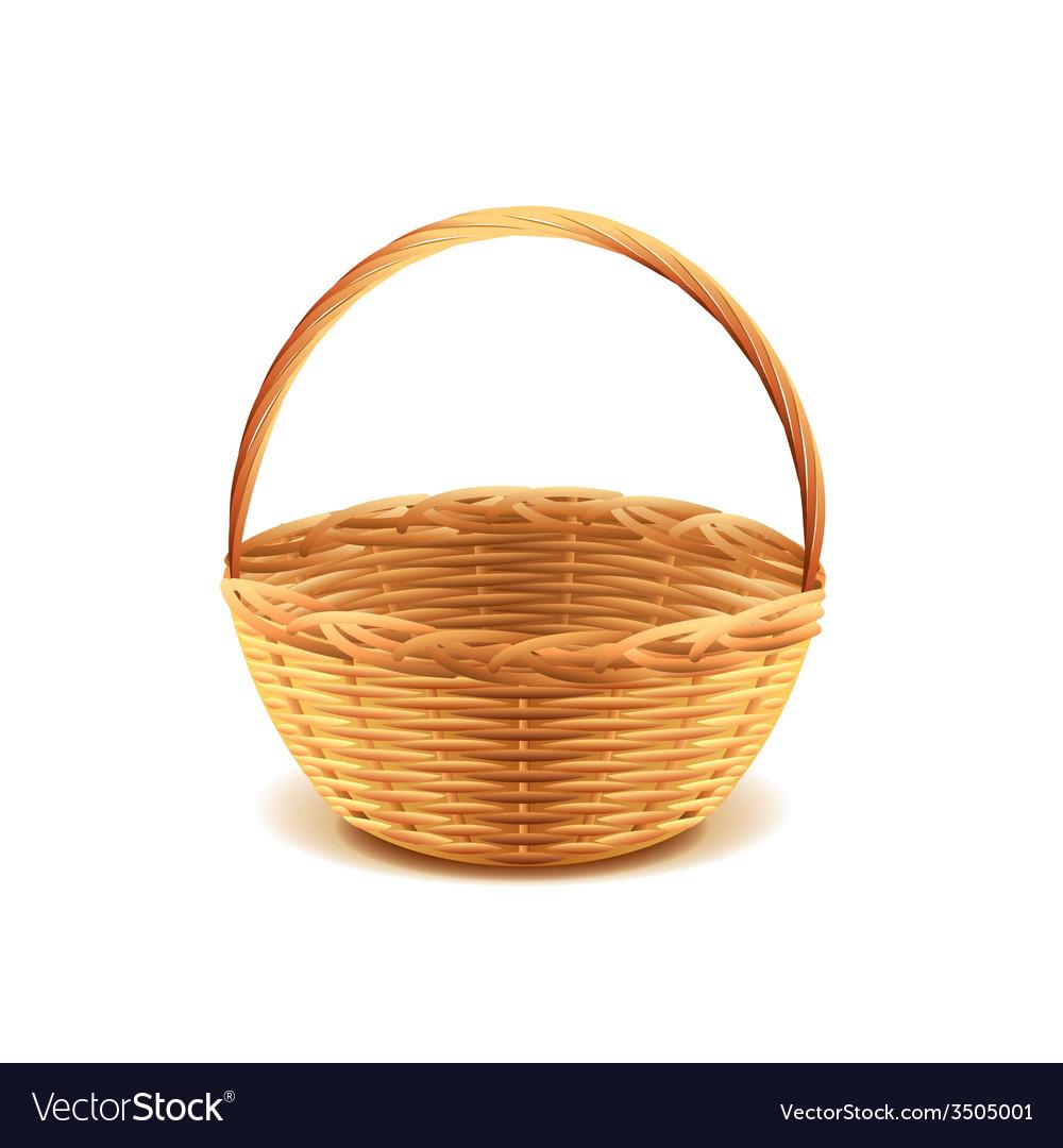 Wicker basket isolated vector image