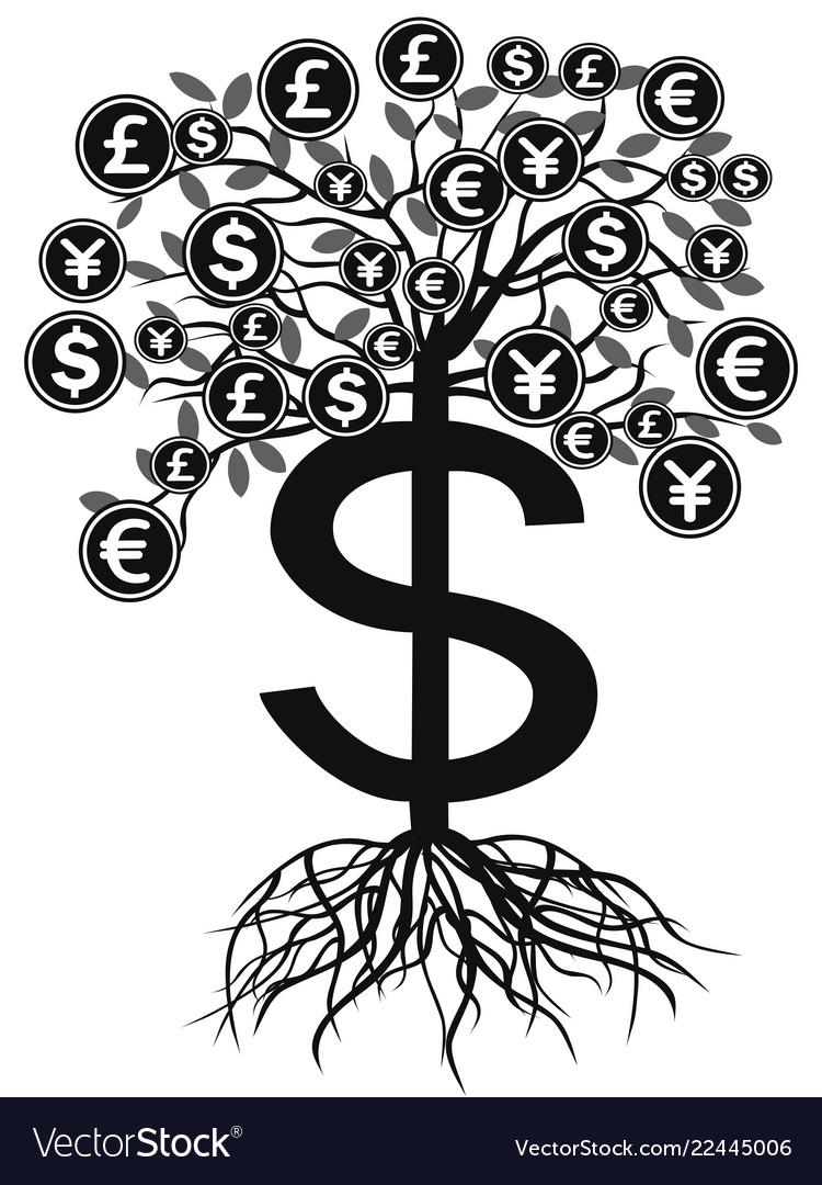 Black money currency tree