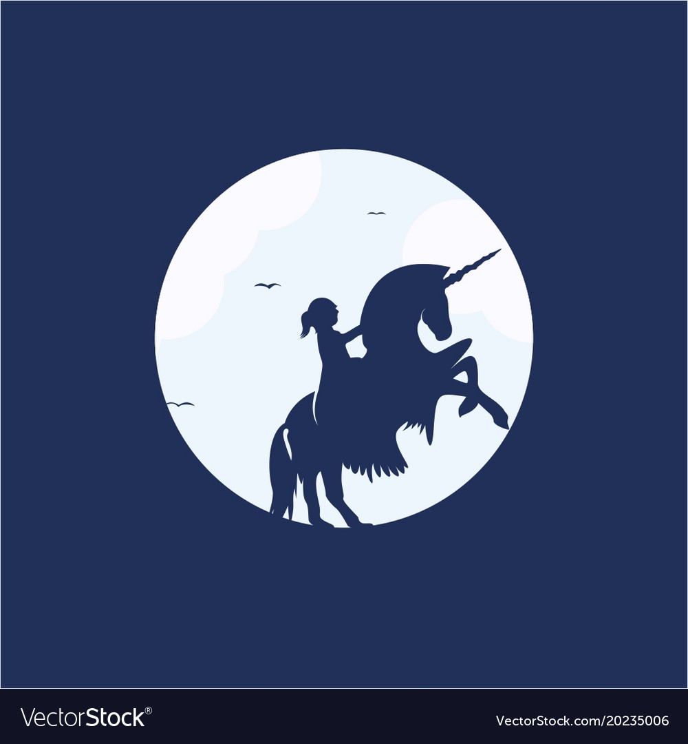Child on a unicorn logo design
