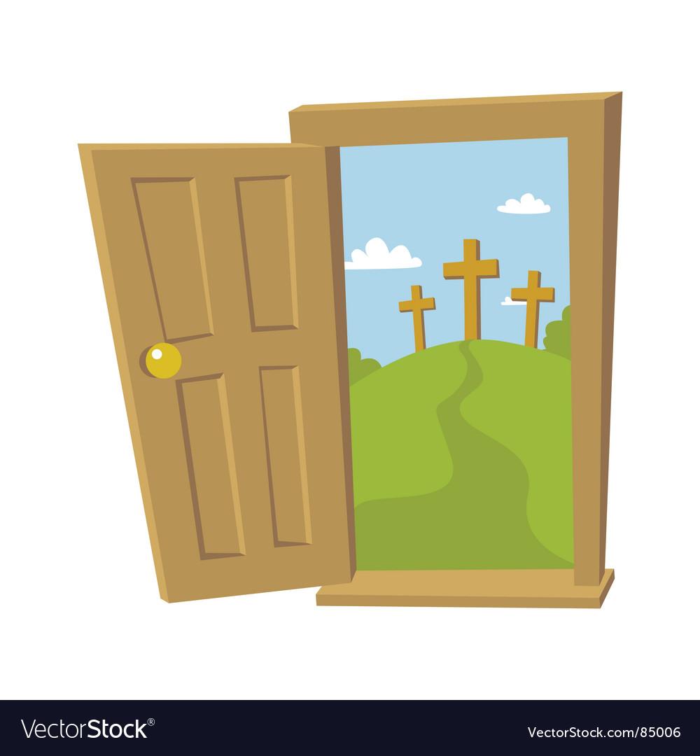 Door open to the cross vector image