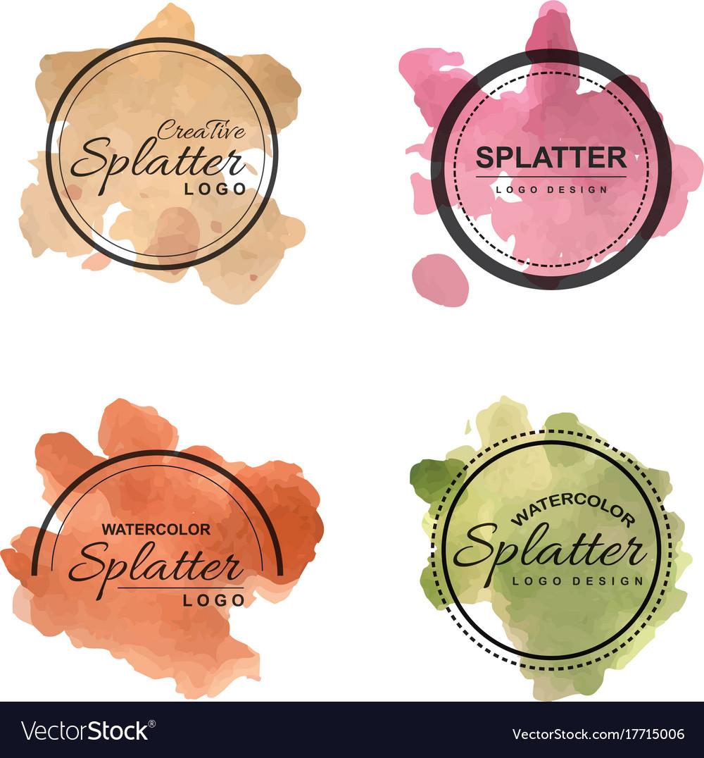 Handdrawn Watercolor Splatter Logos