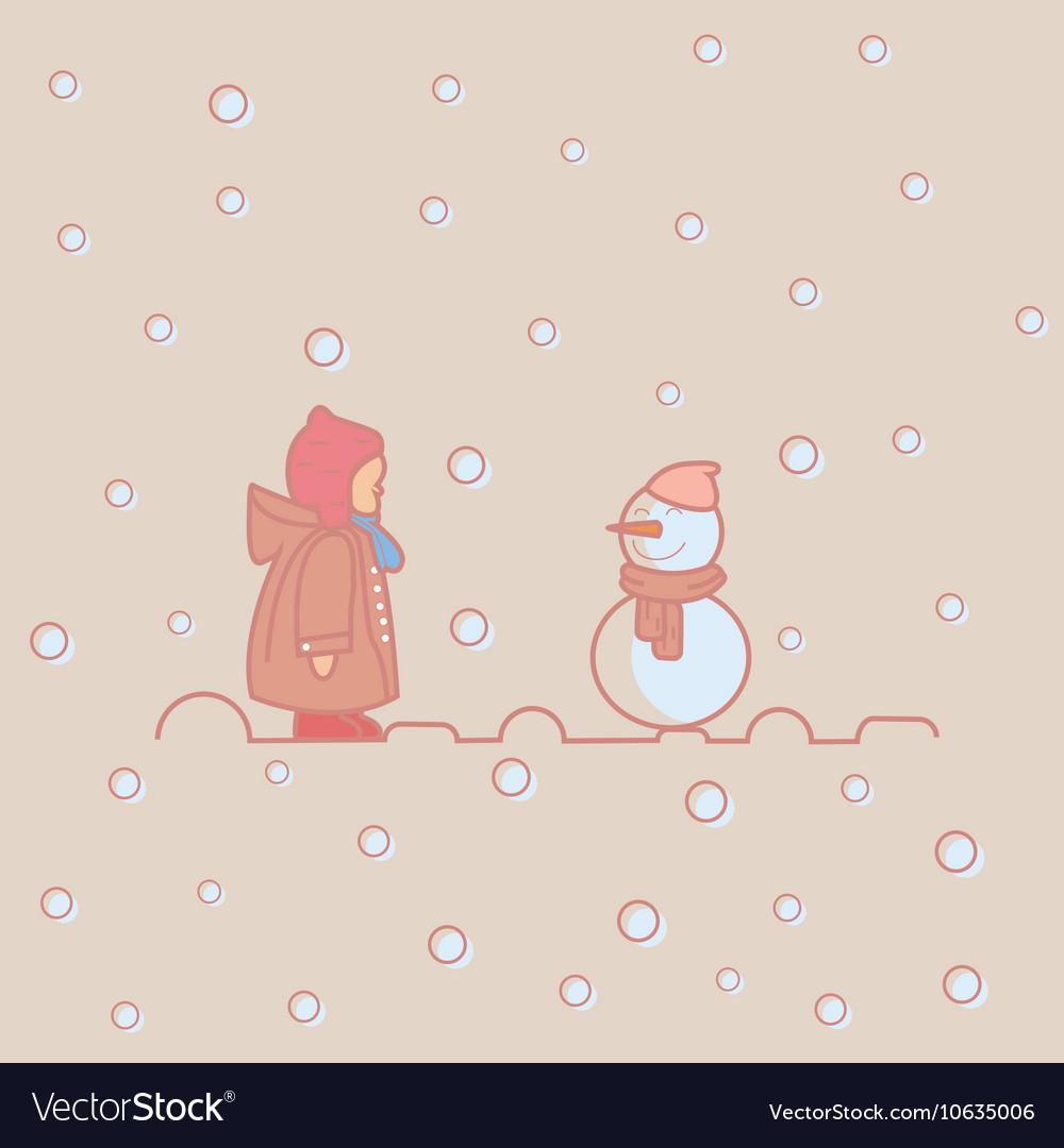 Kids children play with snow man winter