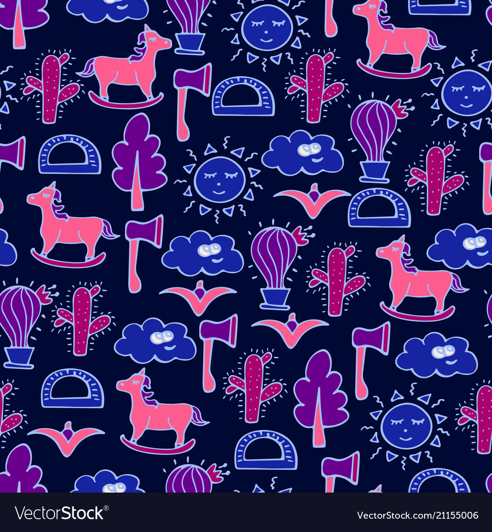 Lovely seamless pattern with horses cactuses vector image
