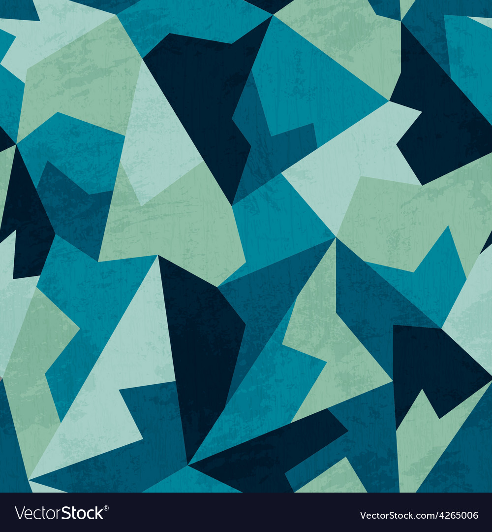 Marine color mosaic seamless pattern with grunge vector image
