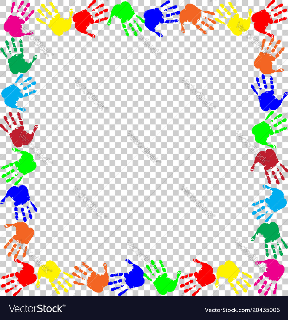 Rainbow frame with multicolored handprints border vector image on  VectorStock