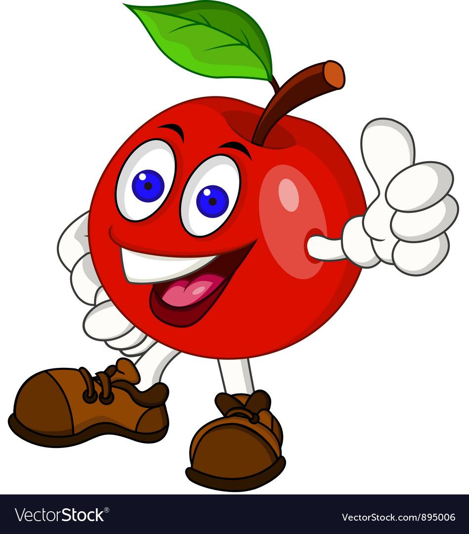 Red apple cartoon vector image