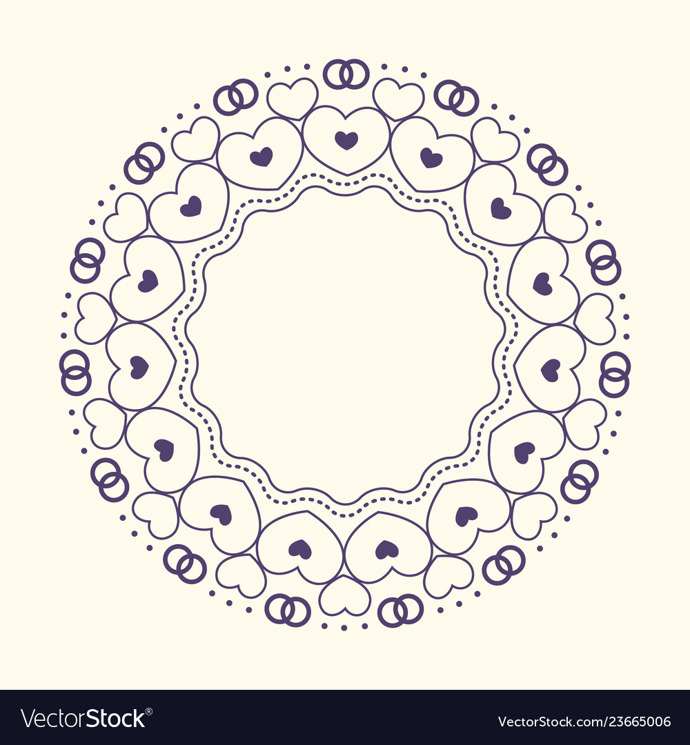 Round frame with decorative elements wedding card