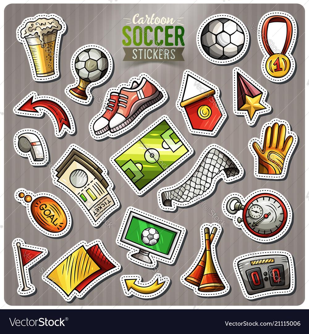 Set of soccer cartoon stickers