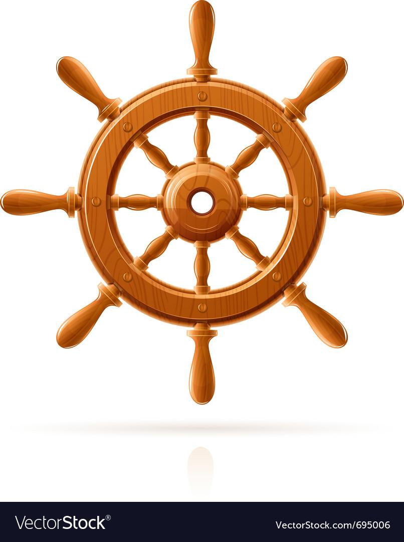 Ship wheel marine wooden vector image
