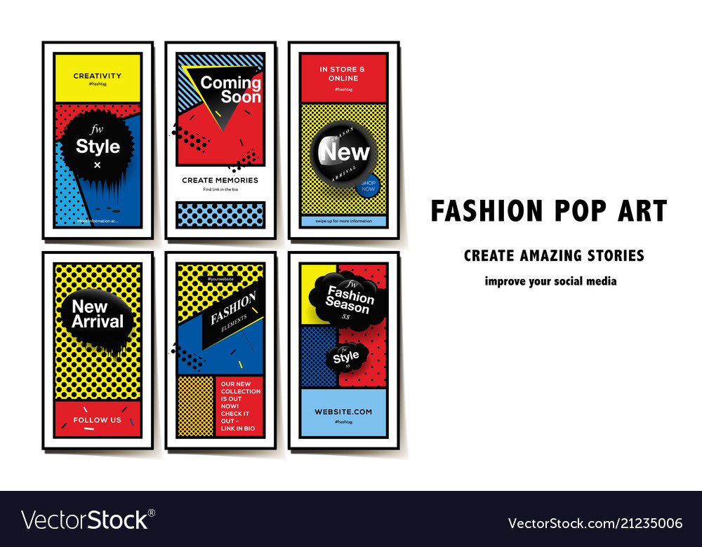 Social media templates pop art style and pattern