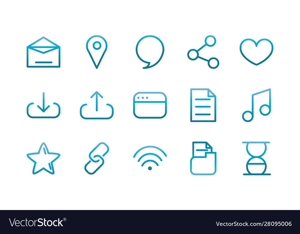 User interface icons set blue gradient