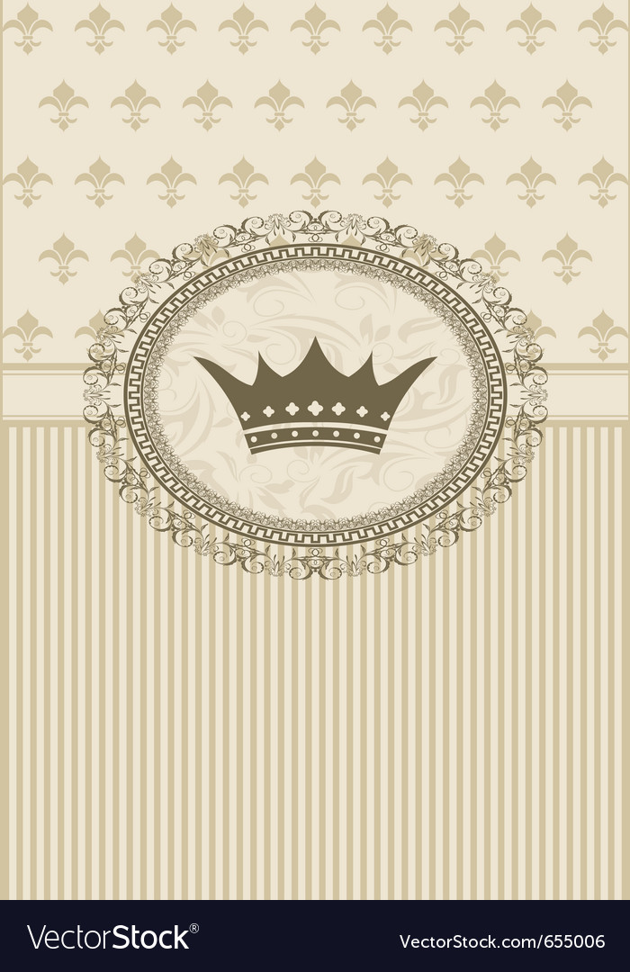 Vintage background with floral frame and crown vector image