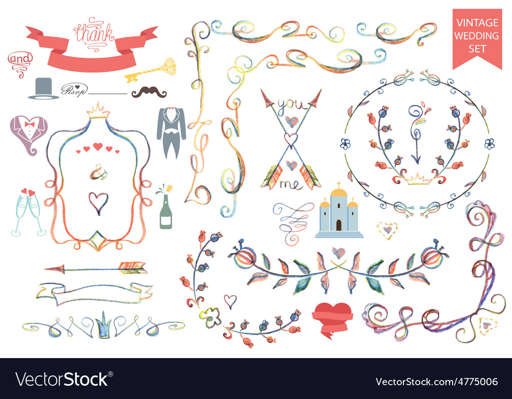 Vintage wedding floral doodle decoricons set vector