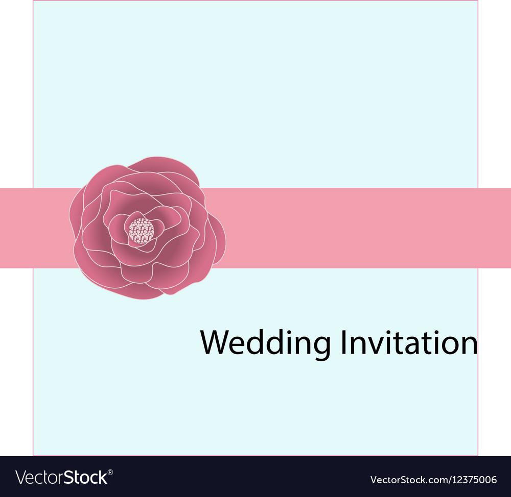 Wedding card invitation with pink rose ribbon vector image stopboris Gallery