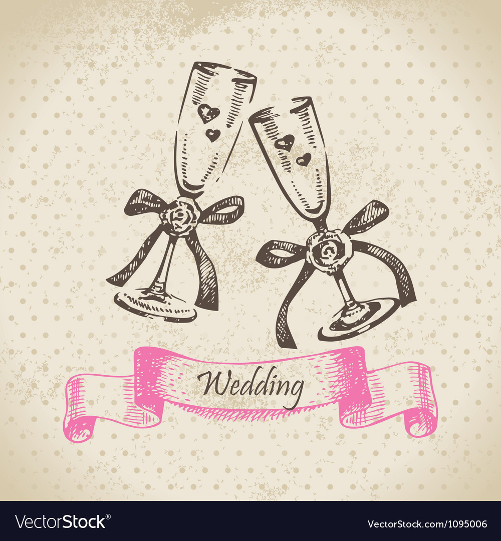 Wedding wineglasses hand drawn vector image