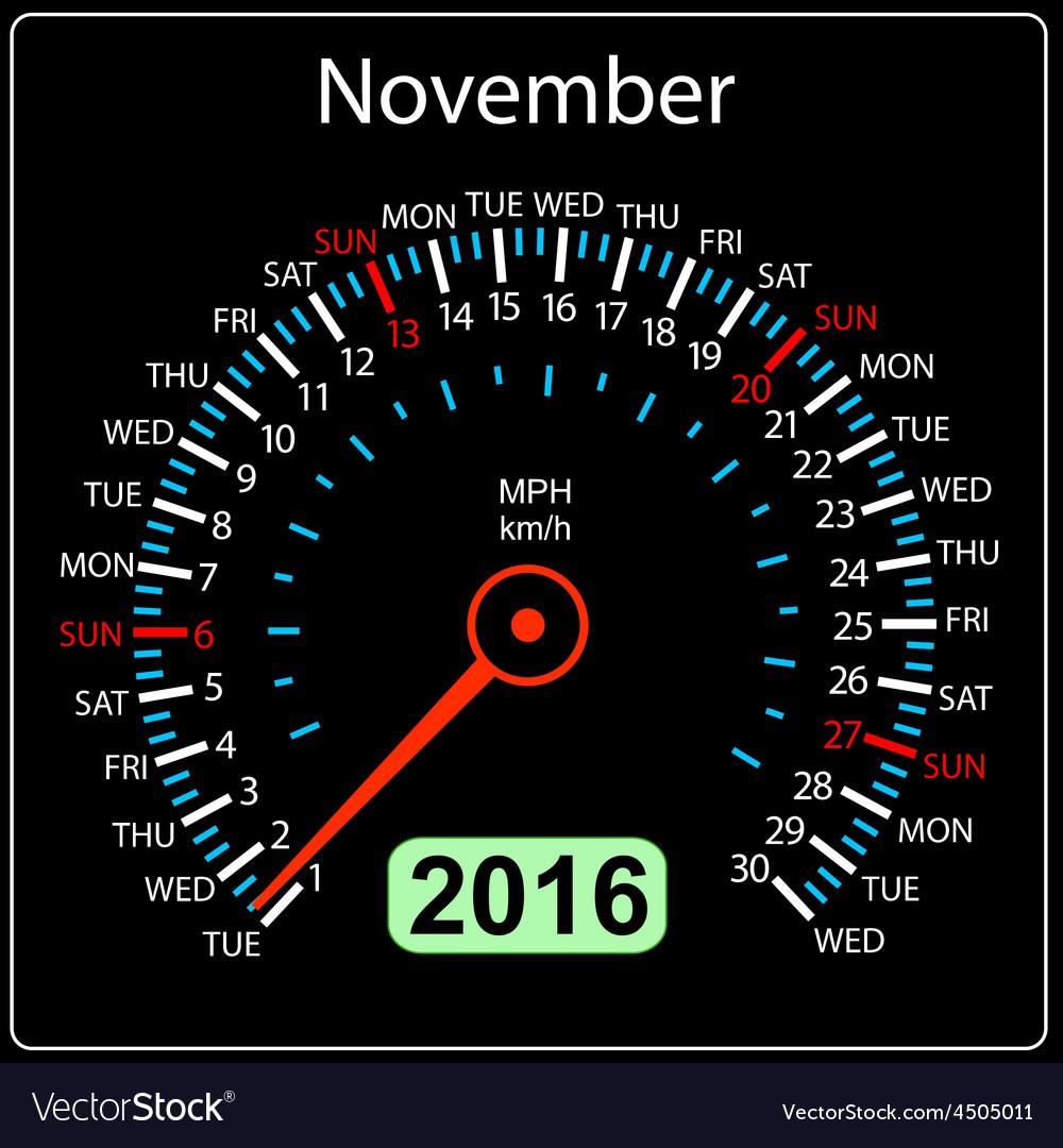 2016 year calendar speedometer car November vector image