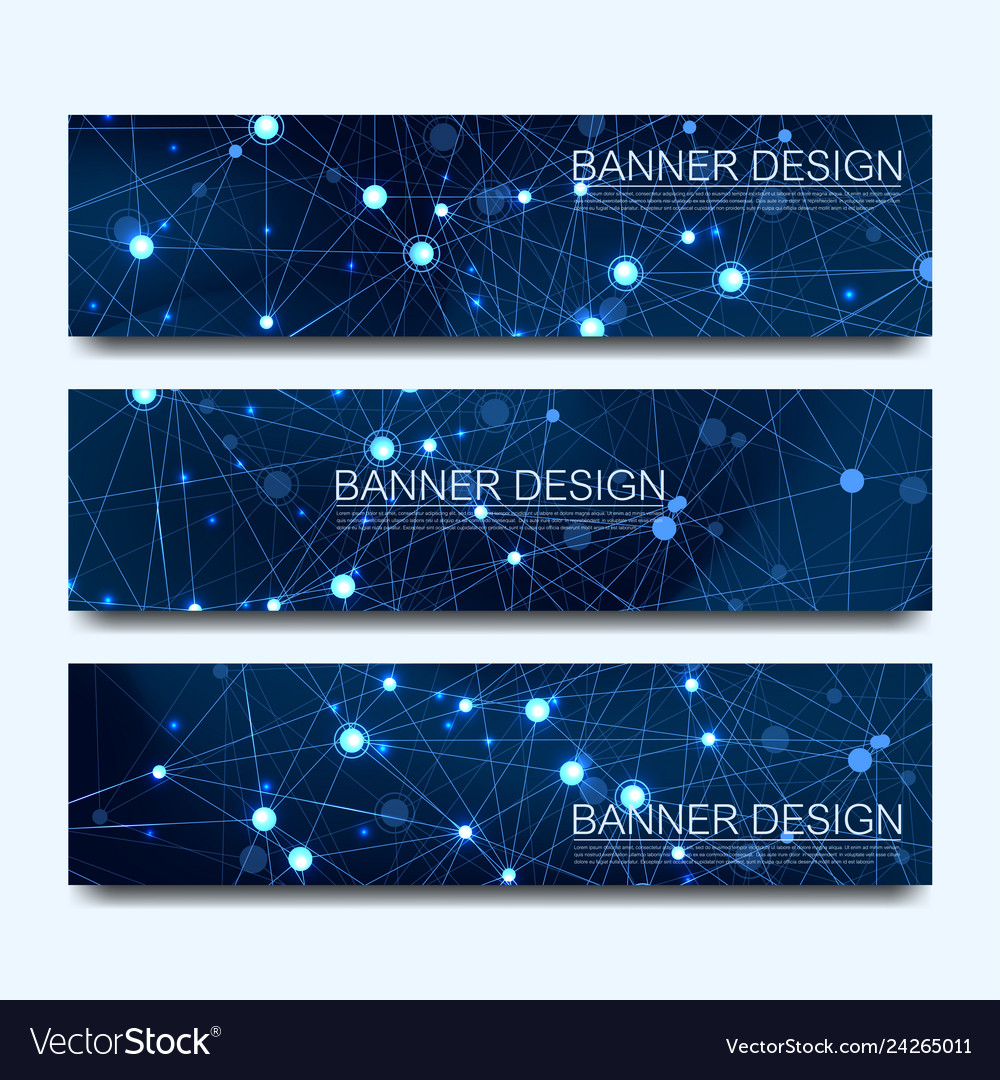 Abstract molecules banners set with lines dots