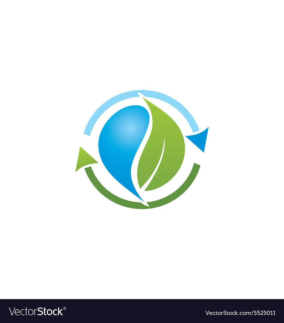 Bio recycle green leaf logo