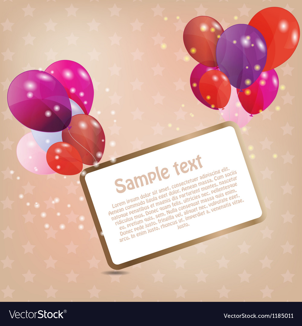 Birthday card with colored ballons