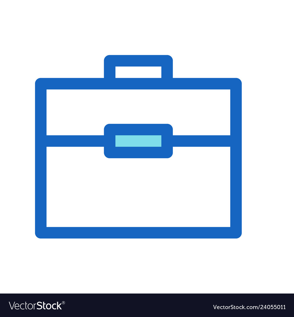Briefcase business filled line icon blue color