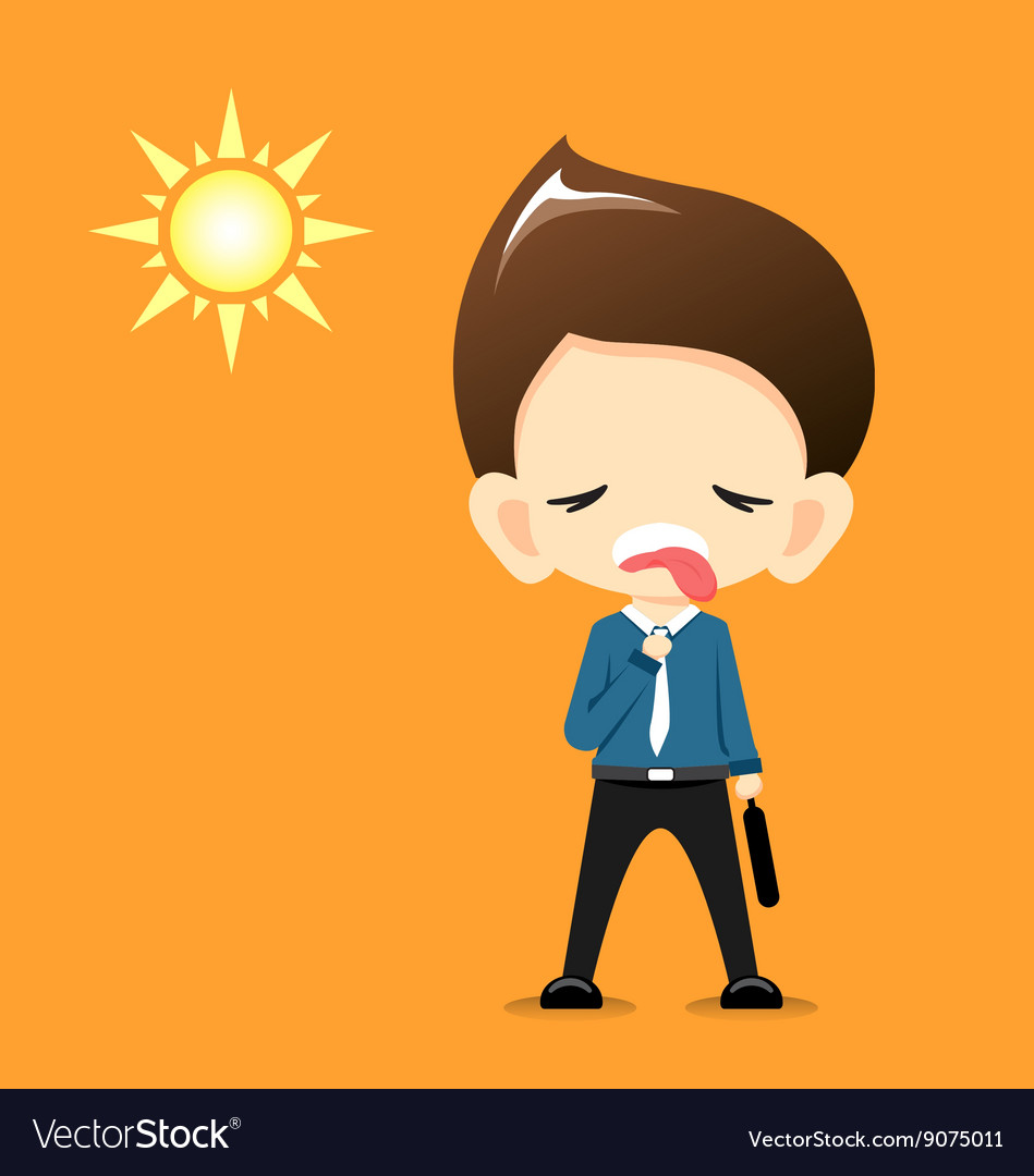 Businessman feeling hot with the sun vector image