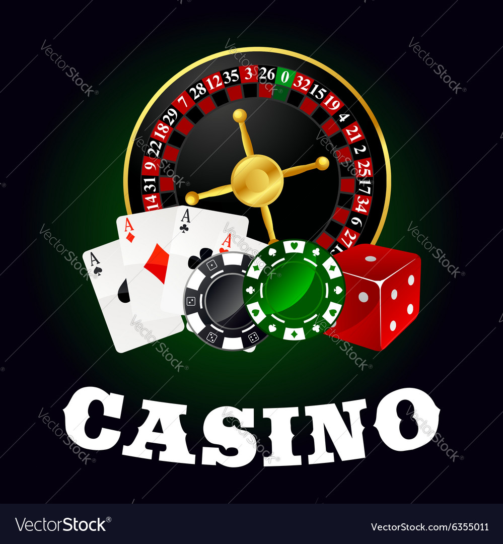 Casino roulette cards game chips and dice vector image