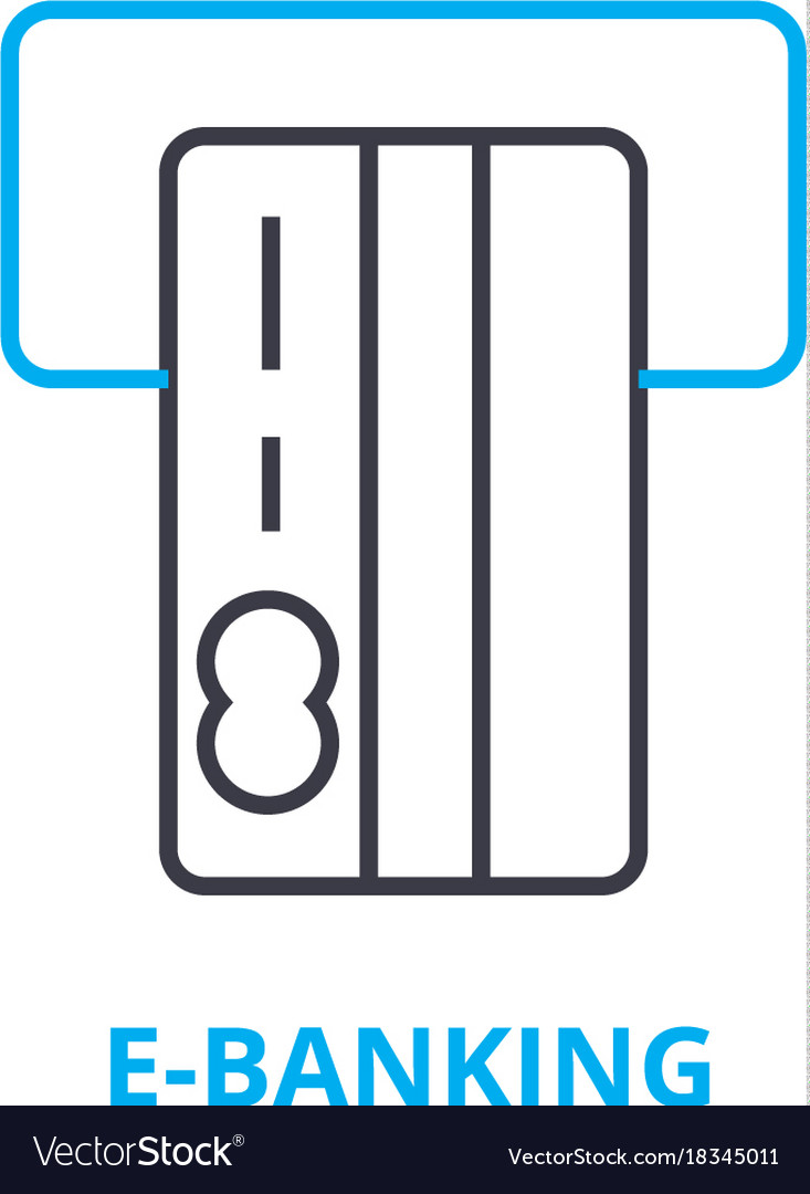 E-banking concept outline icon linear sign