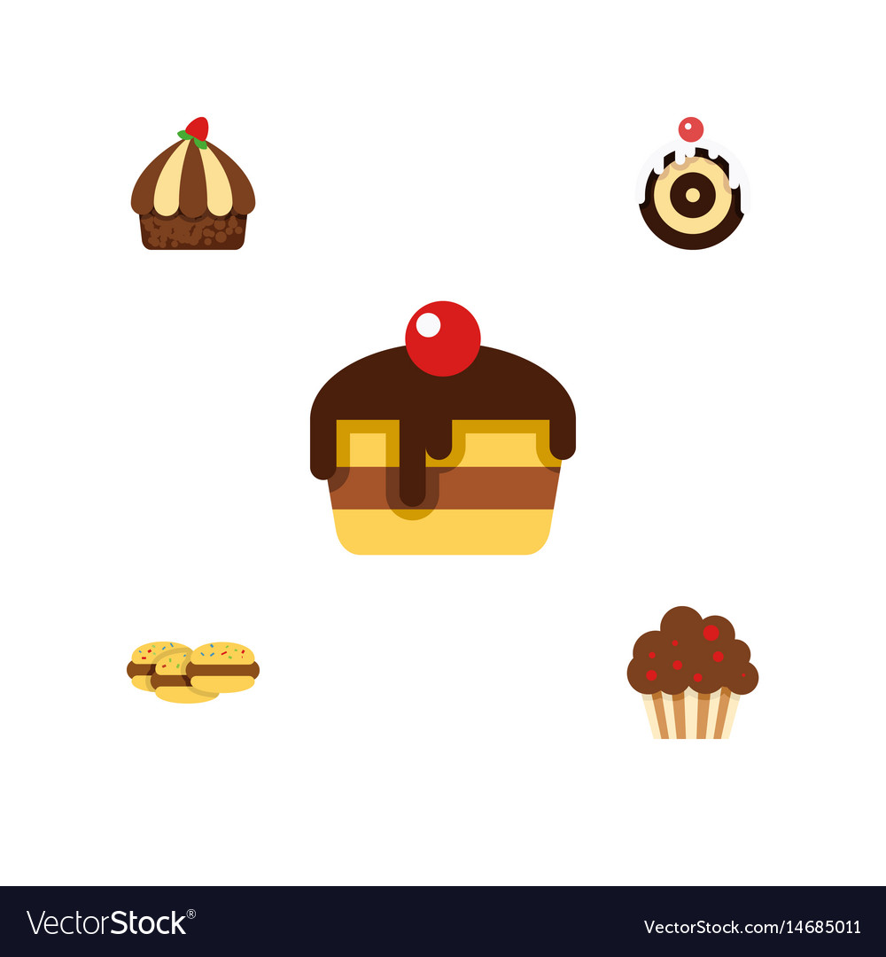 Flat cake set of biscuit cupcake dessert and vector image
