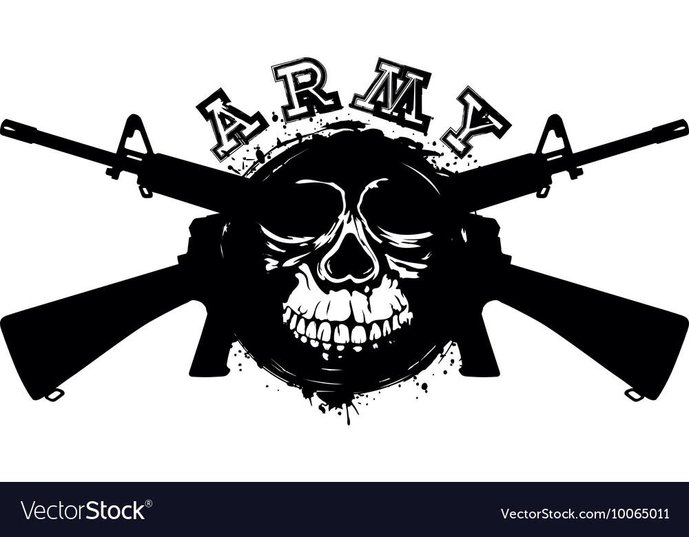 Grunge skull in frame machine gun