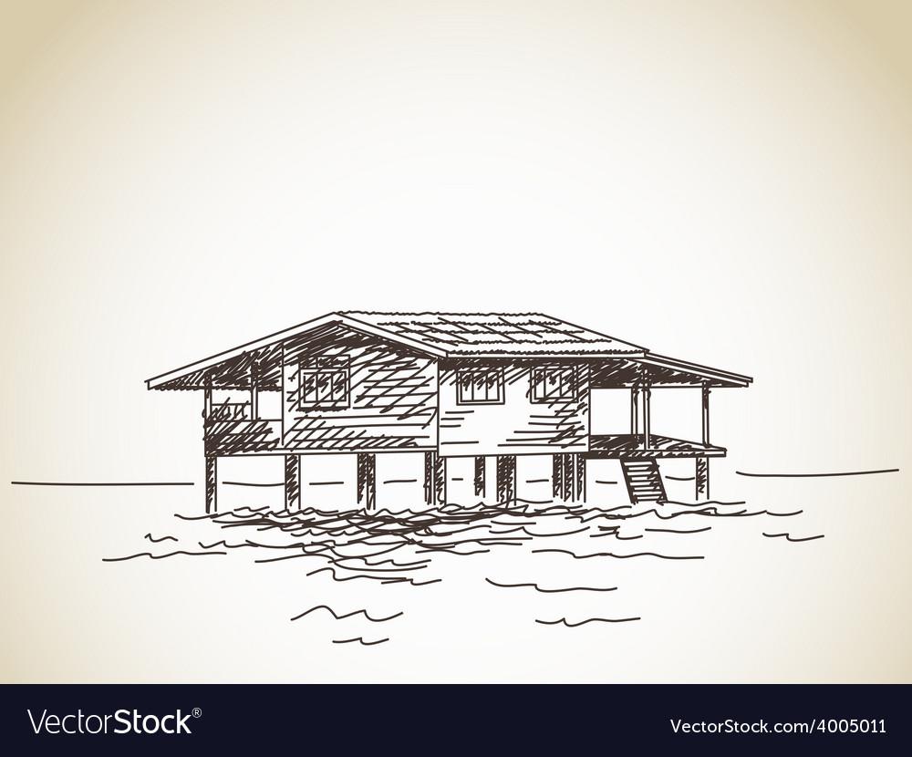 House on stilts on water