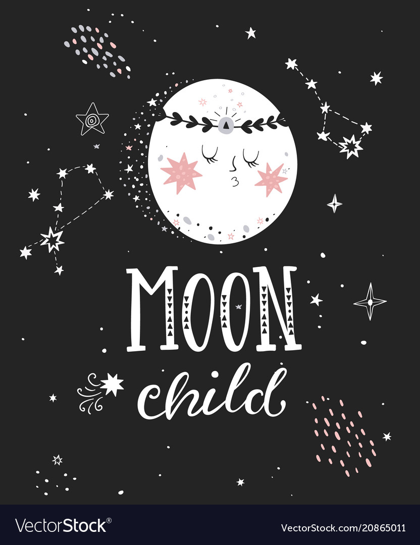 Moon Child Poster With Full Moon Royalty Free Vector Image