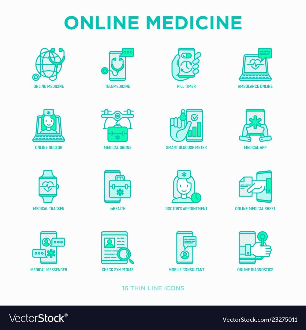 Online medicine telemedicine thin line icons