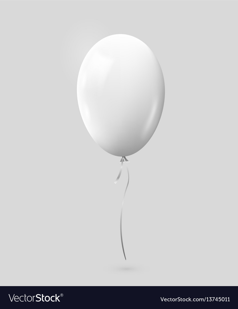 Realistic white balloon isolated on gray
